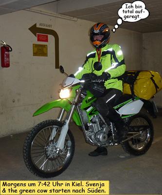 Svenja startet 2010 auf ihrer Kawasaki KLX250 nach Frankreich